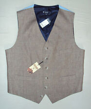 Cremieux Mens NWT $95 Linen SEDONA Button Suit Vest, Brown Plaid, L, Large