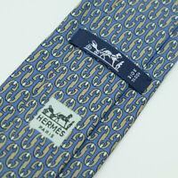 Vintage Hermes Paris Made In France Blue Geometric Pattern Silk Tie 734 FA