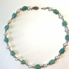 "Vintage Cultured Pearl Turquoise Nugget Necklace - Choker 14"", 6MM, Excellent"