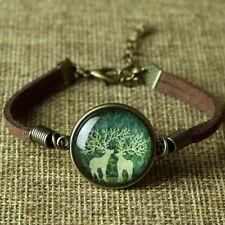 Bracciale CERVO coppia braccialetto cuoio animale harry potter cabochon