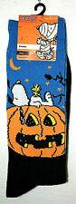 1 Pair Snoopy & Woodstock Peanuts Halloween Crew Socks Fits Shoe sz 6.5-12 New