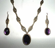 VICTORIAN STYLE DEEP PURPLE FACETED OVAL GOLD PLATED MARQUISE NECKLACE SET