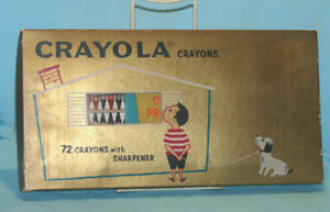 Vintage Crayola Crayons Color Drawing Set 72 Colors With Sharpener & 14 Pg. Book