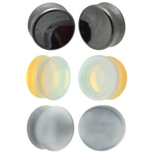 Set of 3 Pairs Stone Concave Plugs - Hematite, Opalite, Grey Cat Eye (BP-032)