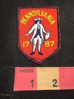 Vtg Yellow Letter Version Pennsylvania Statehood 1787 Patch Colonial Dress 87NM