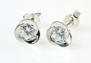 925 Silber Ohrstecker  1 Paar 7,5 mm Grösse mit Zirkonia Steinen