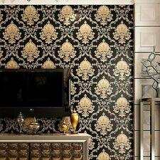 10m Black Gold Wallpaper Embossed Texture Metallic 3D Damask PVC Wall Paper