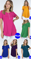 PLUS  Size Short Sleeve Henley Relaxed Fit Button Down Flowy Top Blouse 1x/2x/3x