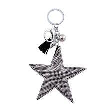 Llave Llavero de bolsa Estrella con pedrería Negro Plata