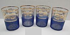Mid Century Gold Wreath Design Textured Blue Band Flat Tumbler Water Glasses Set