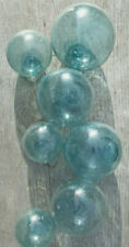 "Japanese Blown Glass Floats Lot-7 Aqua Mixed: (4) 3-3.5""& (3) 2"" Ocean Antique"