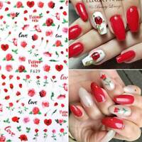 3D Nail Stickers Rose Flowers Butterfly Red Rose Nail Art Decals Decoration Tips