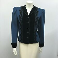 Vintage Saint Laurent Russian Collection Jacket Blue Black Wool Velvet Beads 38