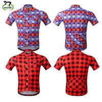 Men Plaid Cycling Jersey Short Sleeve Mtb Bike Shirts Racing Wear Reflective Top