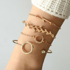 Moon Leaves Bangle Bracelet Jewelry Bohemian Simple 4Pcs/Set Women Boho Crystal