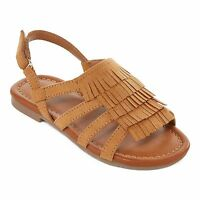 Okie Dokie Frannie Girls Sandals Fringe Tan Textile Man Made Tod size 9 NEW