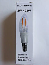 LED filament bulb, b11 2W to replace 25W Incandescent, Soft White (2700K) E12