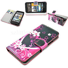 Book Flip Stand Card Holder Wallet Leather Soft Cover Case For HTC ONE M7 810e