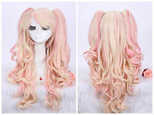 Lolita Harajuku Mix Color Wave Curly Hair Anime Cosplay Wigs + Clip Ponytails