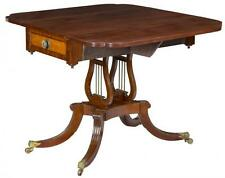 SWC-Classical Mahogany and Bird's Eye Maple Drop Leaf Table, probably Philadelph