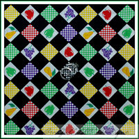 BonEful Fabric FQ Cotton VTG Quilt Fruit Block Check Feedsack B&W Red Green Xmas