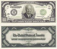 Two Eisenhower $10,000 Patriotic Novelty Currency Bills #191