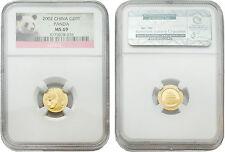 China 2002 Panda 20 Yuan 1/20 oz Gold Coin NGC MS-69
