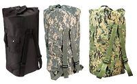 Enhanced Double-Strap Duffle Bags - Military Type Backpack Duffle Bag Camo Black