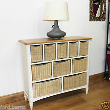 Chest Of  Drawers Oak Top With Wicker Basket Storage Painted Ivory Finish