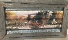 Rustic Barn Wood Embellished with Barbed Wire Corrugated Steel Print Framed