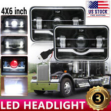 2X 4X6'' LED Headlight Sealed Hi-Lo Beam RED DRL For Kenworth T600/T800/W900