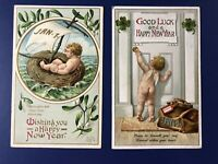 2 Beautiful New Years Antique Postcards, Publ IAP 1900s. For Collectors. W Value