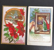 2 Vintage Embossed Relief Christmas Postcards Swedish Manger Poinsettia Merry
