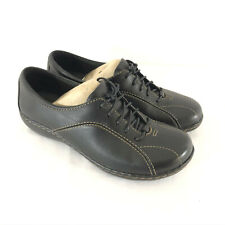 Clarks Womens Shoes Oxfords Ashland Pearl Leather Lace Up Comfort Black Size 7.5