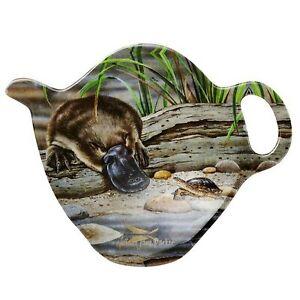 1 x Australian Souvenir Tea Bag Holder Spoon Rest Fauna Platypus & Turtle