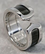 Cartier Double C 18K White Gold Black Ceramic Inset Ring