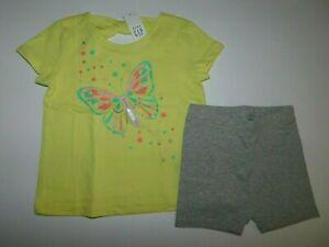 NWT Gap Baby Toddler Girls 2 Pc Set T-Shirt/Tumble Shorts 18-24M 2 Yrs/2T New