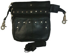 Lambskin LEATHER Studded HIP Belt Bag Convertible Cross Body Purse Waist Pack