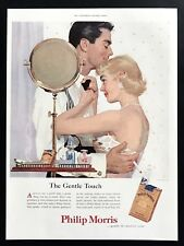 1955 Vintage Print Ad 50's PHILLIP MORRIS Gentle Touch Couple Hugging Smoking