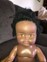 African American Black Drink And Wet Doll Sleepy Eyes 14""