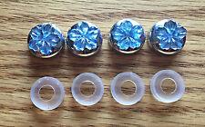 BLING Blue Flower Flatback Rhinestones on Chrome License Plate Screw Caps