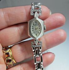 Art Deco Approx.0.30Ct Diamond Watch Omega Antique Ladies14K White Solid Gold