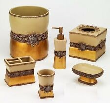 Avanti Linens Braided Medallion 6 Piece Gold Resin Bath Accessory Set