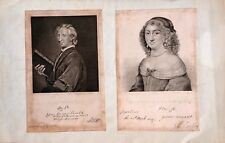 JOHN EVELYN (DIARIST / WRITER) AND MARY EVELYN ANTIQUE PRINTS 1818