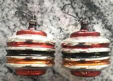 VINTAGE PAIR OF GLASS CHINESE  LANTERN CHRISTMAS TREE ORNAMENTS