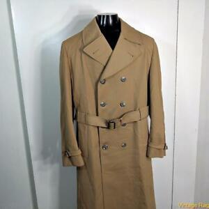 LONDON FOG Vtg Maincoat RAINCOAT Rain Trench Coat Men 44XL 44 XLong Straw belted