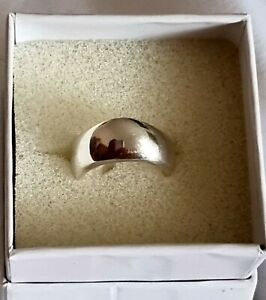 Heavy Sterling Silver (925) Wave Curve Band Modern Ring Wide and Chunky