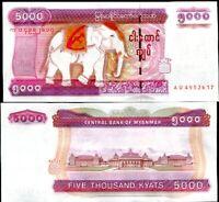 MYANMAR 5000 5,000 KYAT 2009 P 81 (BURMA) ELEPHANT UNC