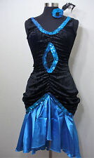 Sexy Flapper 1920 Roaring 20' Blue Gown Costume Complete NEW Adult Size up to 14
