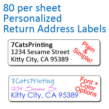 80 Plain Personalized Return Address Labels Printed 1/2 x 1 3/4 Inch